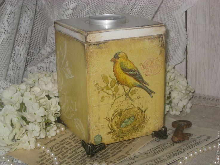 """Купить Короб-подсвечник """" Птички """" - желтый, Декупаж, короб-подсвечник, птички, винтаж"""