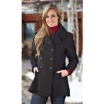 Women's Nine West Pea Coat Black