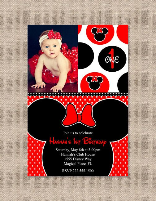 minnie mouse birthday invitations | Red Minnie Mouse Birthday Party Invitations - Inspired by Minnie Mouse ...