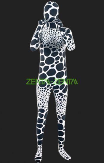 Zentai-zentai.com - Black and White Bubble Spandex Lycra Unisex Full Body Zentai Suit
