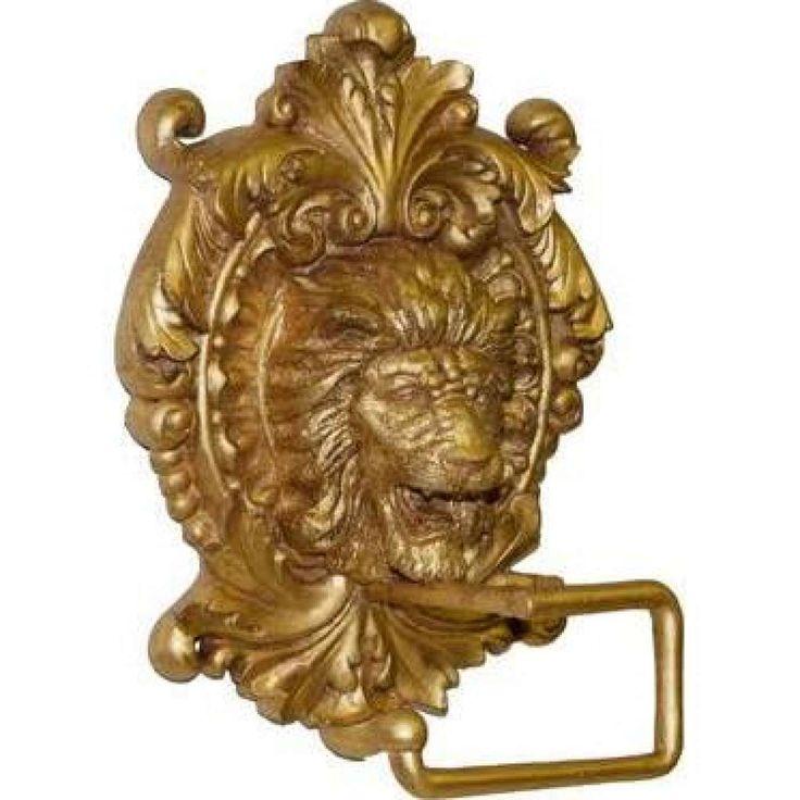 Hickory Manor Home Lion Medallion Plaque Toilet Paper Holder/Gold leaf