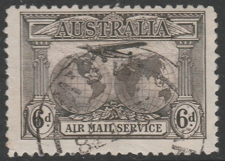 KGV 1914 - 1936 6d Kingsford Smith Airmail. Find more KGV 1914 - 1936 at Stamp Shop