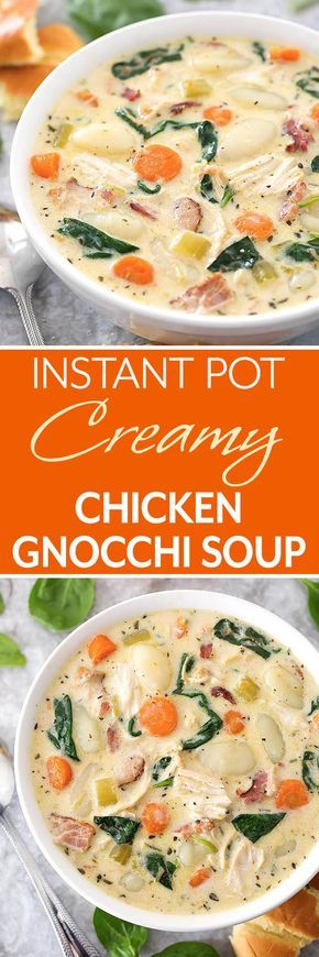 Instant Pot Creamy Chicken Gnocchi Soup is loaded with lots of flavor from herb and spices, garlic, carrots, and bacon. Make this soup in your electric pressure cooker. simplyhappyfoodie.com