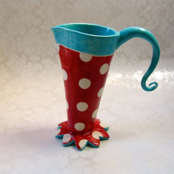 "turquoise & red polka dot ceramic vase pitcher for your home or office decor, kinda ""cat in the hat""ish"