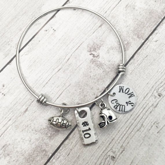 Football Mom Personalized Bangle Bracelet by theKRAFTbox on Etsy