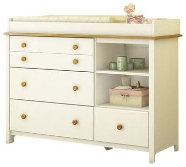 South Shore Little Smiley Changing Table in Pure White & Harvest Maple transitional changing tables