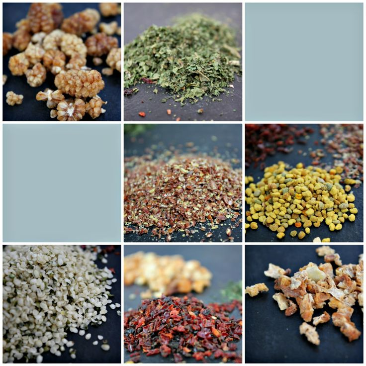 Make your own superfood sprinkle to top smoothies, salads and breakfasts! Some ideas are flax, bee pollen, gojiberries, mulberry pieces, hemp hearts, chia, nettle leaf, psyllium husk, rosehips, and so many more!