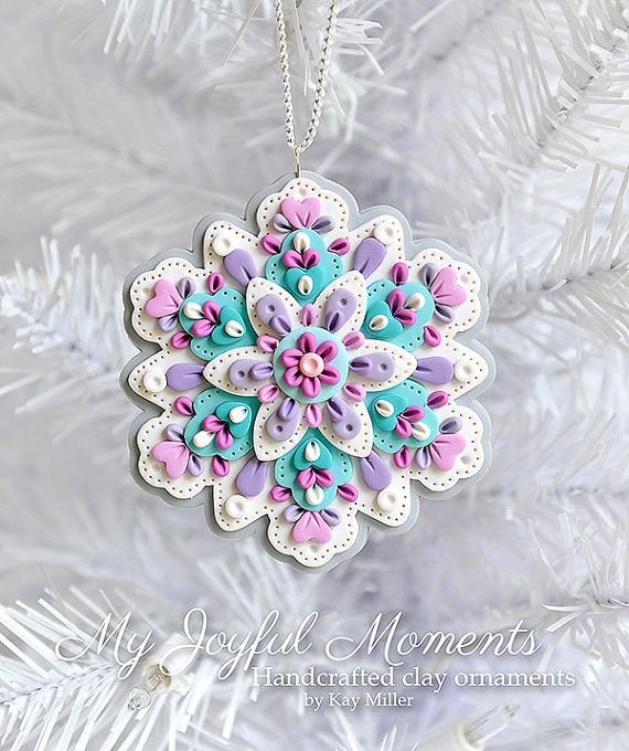 This is s one of a kind, handcrafted ornament made of durable polymer clay, with much attention given to detail and careful construction. No molds have been used, so you can be sure you are receiving a unique and one of a kind keepsake. This ornament measures approximately 3 3/8 inches wide by 3 1/2 inches tall not including the ribbon hanger. The item in the photo is the exact item you are purchasing and will receive, as I do not like to create the same thing twice :) This beautiful or...