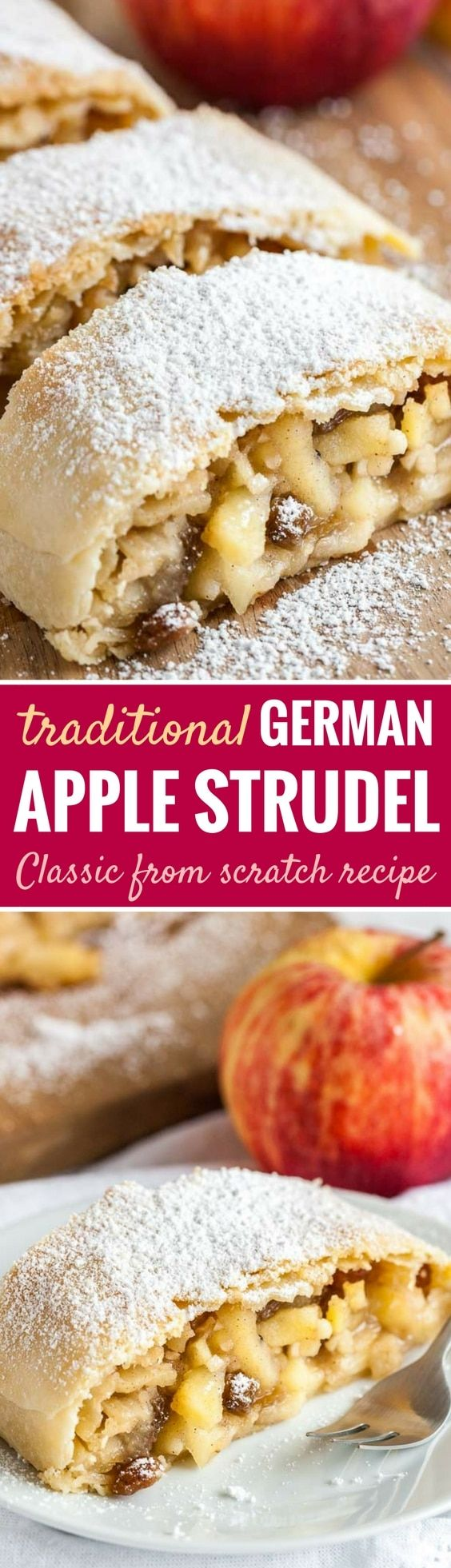 Apple Strudel is much easier to make from scratch than you think! With its flaky crust and a spiced apple filling, this traditional Apfelstrudel recipe is sure to wow your guests. Serve it with vanilla ice cream or vanilla sauce and you have the most delicious fall and winter dessert that everyone will love! #applestrudel #appledesserts #germanrecipes #winterdesserts
