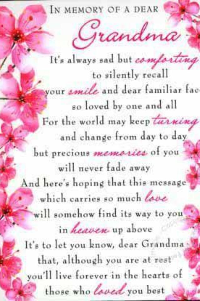 My Grandma Sayings: Grandmother Poem... Miss You Grandmom