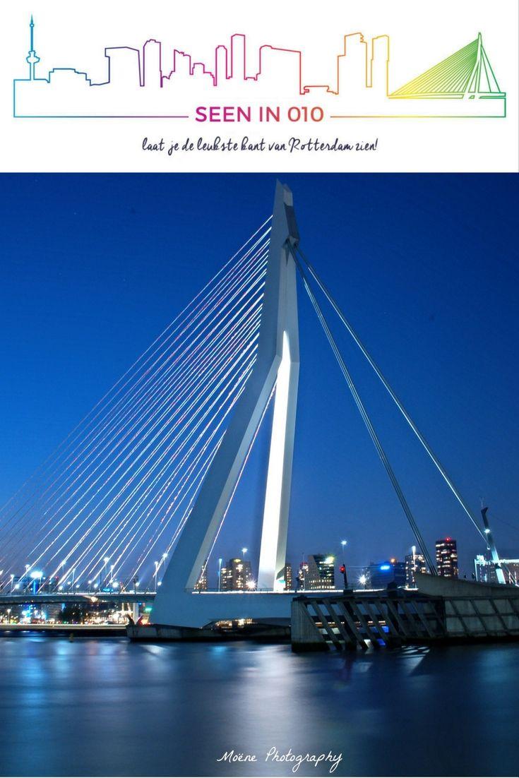 """De Zwaan"" Rotterdam Erasmusbrug  #Erasmusbrug #dezwaan #Rotterdam #SeenIn010 #010 #Roffa #Erasmusbridge #Erasmus #Bridge #City #Skyline #Night #Dark"
