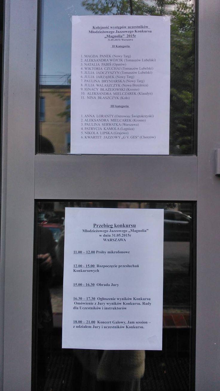 """Wykaz uczestników Konkursu """"Magnolia"""" 31.05.2015r Warszawa"""