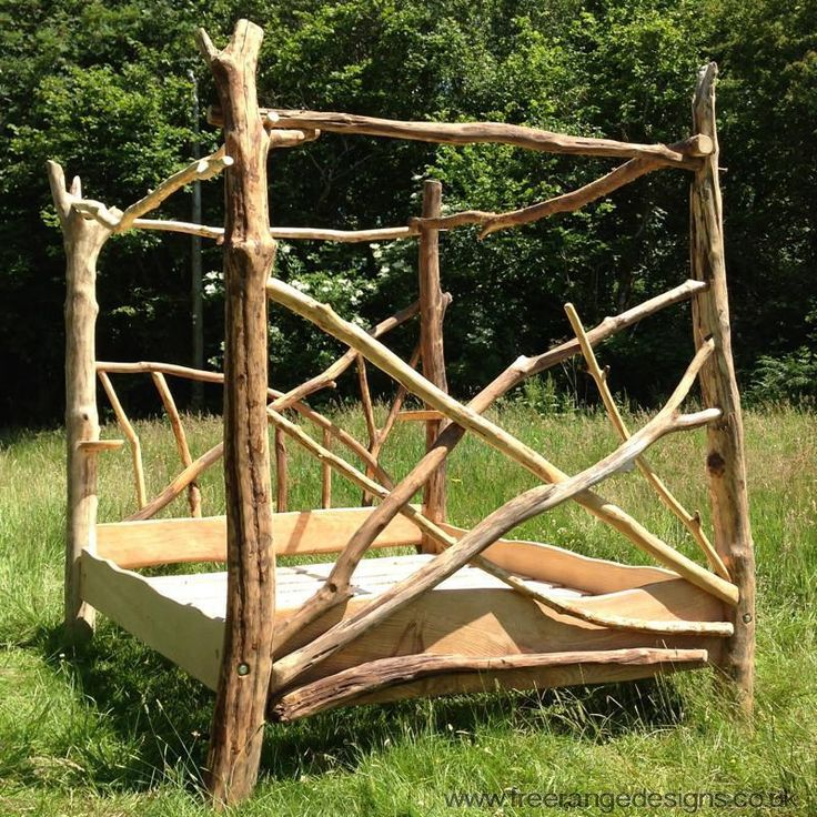 Details about Driftwood Four Poster Canopy Bed, Unique Wooden Bed Frame,  Made in UK