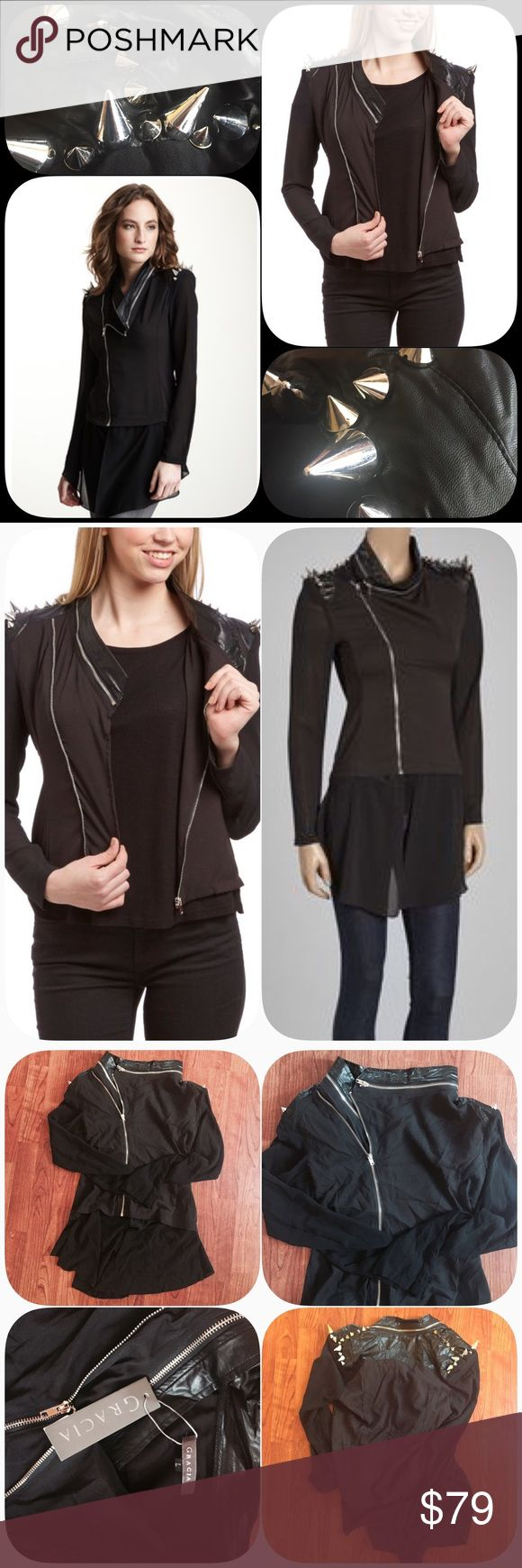 ➕Gracia Leather Chiffon Jacket -detachable Chiffon Spiked shoulder leather jacket! You are purchasing a NWT Gracia Leather Chiffon Jacket with Spiked Shoulders! The chiffon underdrape detaches, which really adds to the unique quality of this sold out piece! You can wear it up, down, edgy, or moto! Shell: 97% polyester, 3% spandex; Patch A: PU and Rayon; Patch C: Polyester 100%; Inside: 100% Polyester. Gracia Jackets & Coats
