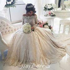 Vintage Lace Pearl Beading Wedding Dresses Long Sleeves Bridal Gowns Custom made