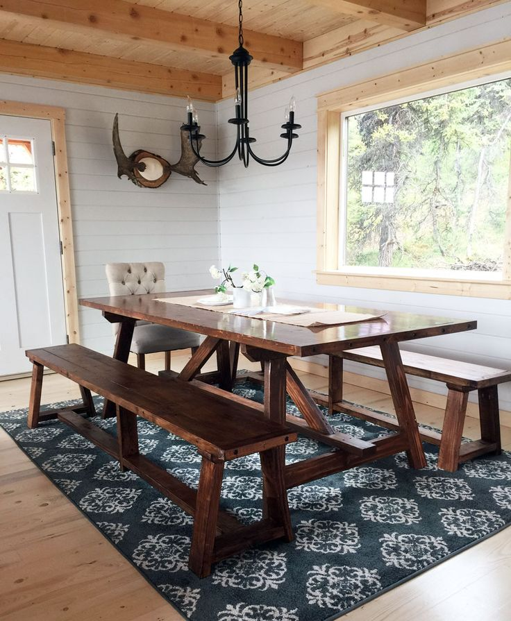 Build a 2x4 truss table for alaska lake cabin free and for Rustic dining room table plans