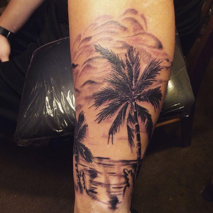 A beach scene tattoo I did.