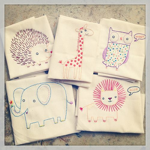 Penguin and Fish embroidery samples ( embroidery kids animals hedgehog giraffe owl elephant lion zoo )