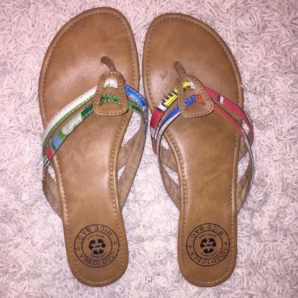 SALE Recycled Sandals!! Super cute and hardly worn. They've been recycled, so they're environmentally friendly. Purchased from a small boutique in Florida! Brand is for views. Bundle 2+ items for a 20% discount!!  Chacos Shoes Sandals