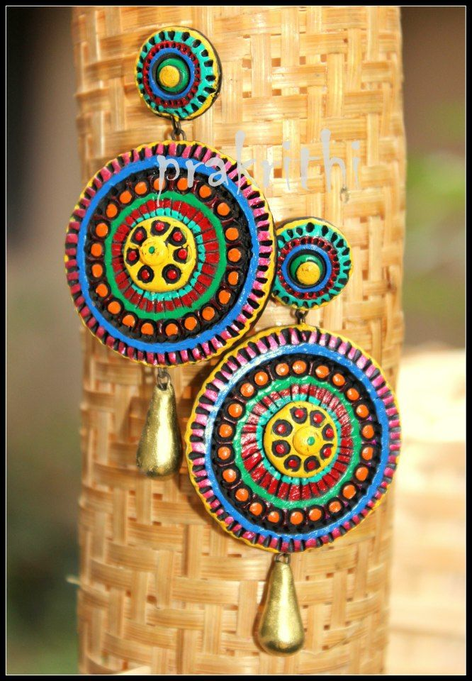 Colorful terracotta earring