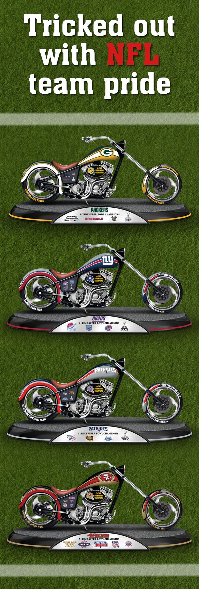 Show off your team pride with officially licensed NFL football motorcycle figurines! http://www.hamiltoncollection.com/search/Promotion+8215.html?cm_ven=SMO-HAM&cm_cat=Pinterest&cm_pla=direct&cm_ite=NFLMotorcycles1115&utm_source=SMO-HAM&utm_medium=Pinterest&utm_campaign=direct&utm_term=NFLMotorcycles1115