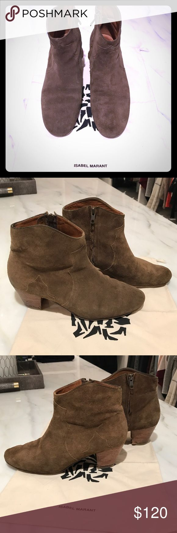 Isabel Marant Dicker Boots Brown Isabel Marant Suede Dicker Boots. Bought in 2016, has some wear on suede, but not noticeable. Some wear on inside heel of right boot that could probably be fixed. Size 41, but I am a solid size 10. Isabel Marant Shoes Ankle Boots & Booties