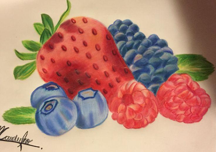 Fruits By MajoCauduro #art #fruits #coloredpencils