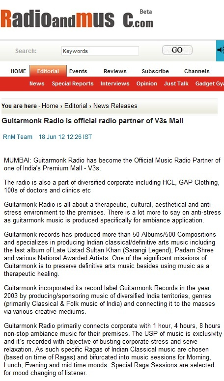 Radio and Music.com (Mumbai News) - Guitarmonk as the official Music Radio Partner of Corporate & Malls
