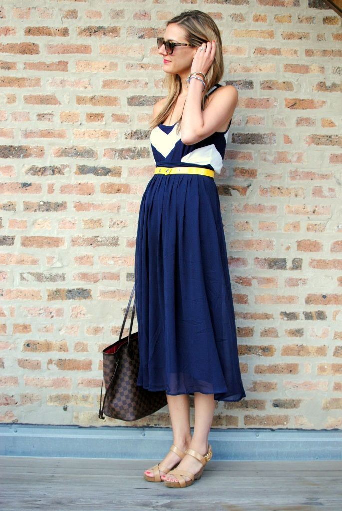 A splash of yellow.: Midi Skirts, Summer Dresses, Navy Sundresses, Navy Maxi, Clothing, Style Inspiration, Cute Outfits, Colors, Navy Skirts