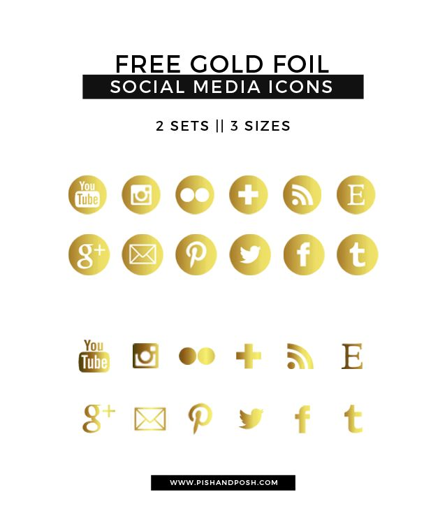 Free Gold Foil Social Media Icons