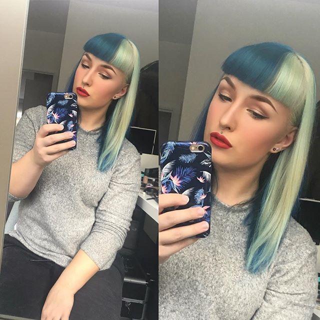 WEBSTA @ tastelikemagic - Money can't buy happiness.. but it can buy makeup!  makeup-look of this week #nofilter #makeuplove #mac #maccosmetics #katvond #katvondbeauty #katvondcosmetics #kyliecosmetics #twocoloredhair #bluehairdontcare #blondhairdontcare #fakemedusapiercing #piercing #pierced #piercedgirl #septum #mırrorselfie #bangs #bettiebangs #redlips #iphone6s