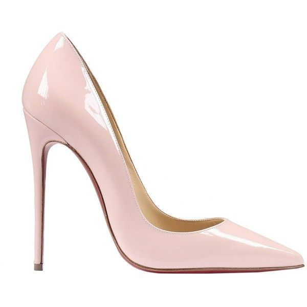 Christian Louboutin High-heeled shoes ($455) ❤ liked on Polyvore featuring shoes, pumps, heels, louboutin, sapatos, pink, patent shoes, pink patent shoes, patent leather shoes and high heel shoes