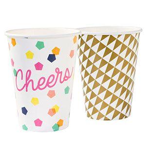 Kağıt bardak, geometrik desenli kağıt bardak, doğum günü partisi, parti malzemeleri, doğum günü süslemeleri, doğum günü kutlaması,