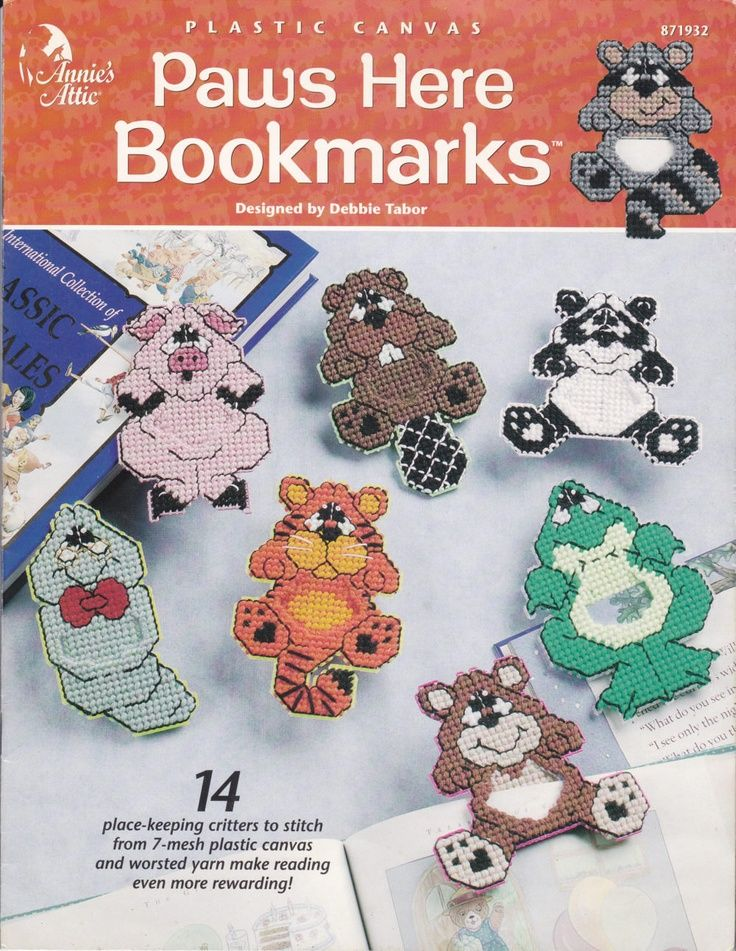 ... patterns   ... Paws Here Animal Bookmarks in Plastic Canvas Pattern