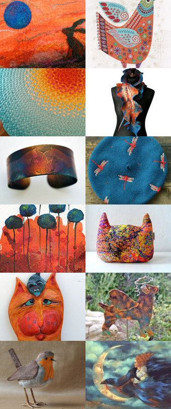 Oranges and blues-my love by Skadia Bojakowska-Radwan on Etsy--Pinned with TreasuryPin.com