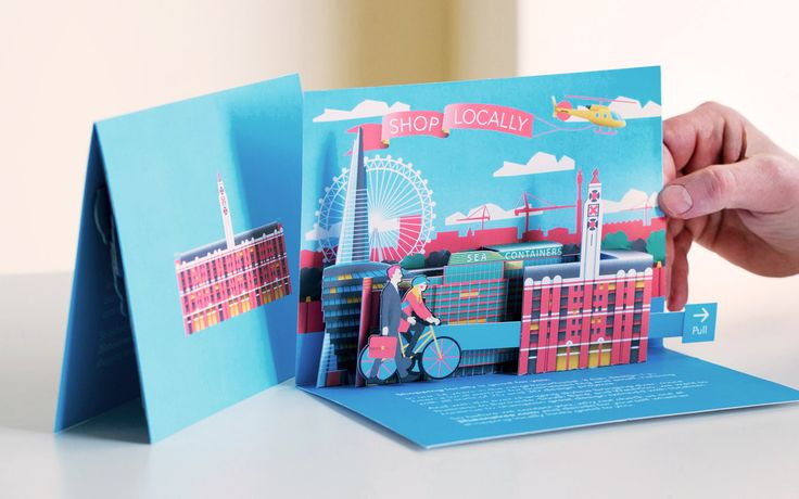 Paper engineering pop up card direct mail London skyline