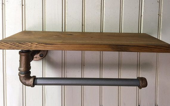 "Industrial Style iron pipe paper towel holder with 16"" Hardwood Wooden Shelf…"