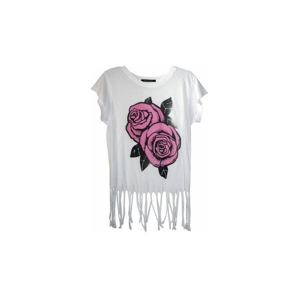 Wildfox Roses Fringe Tee in Clean White (1,085 MXN) ❤ liked on Polyvore featuring tops, t-shirts, shirts, tees, short sleeve t shirts, floral t shirt, tee-shirt, floral shirt and white t shirt
