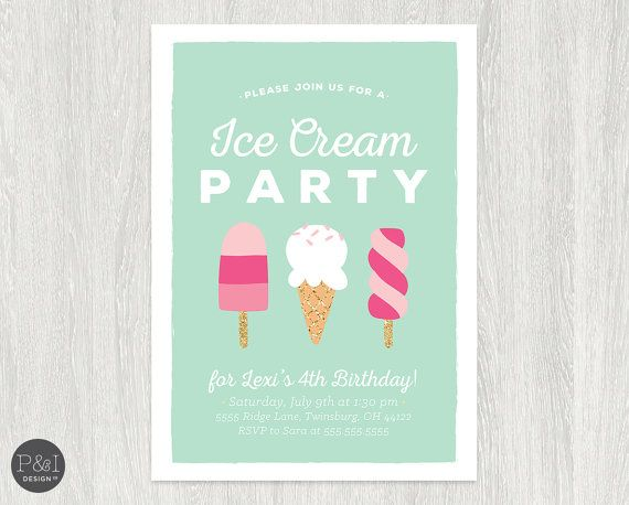 Best 25 Ice cream invitation ideas – Ice Cream Birthday Party Invitations