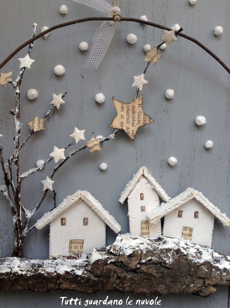 Tutti guardano le nuvole: Christmas decorations with bark and wire