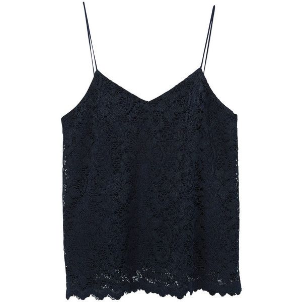 MANGO Lace Top ($30) ❤ liked on Polyvore featuring tops, blue lace top, v-neck tops, mango tops, spaghetti-strap top and lacy tops