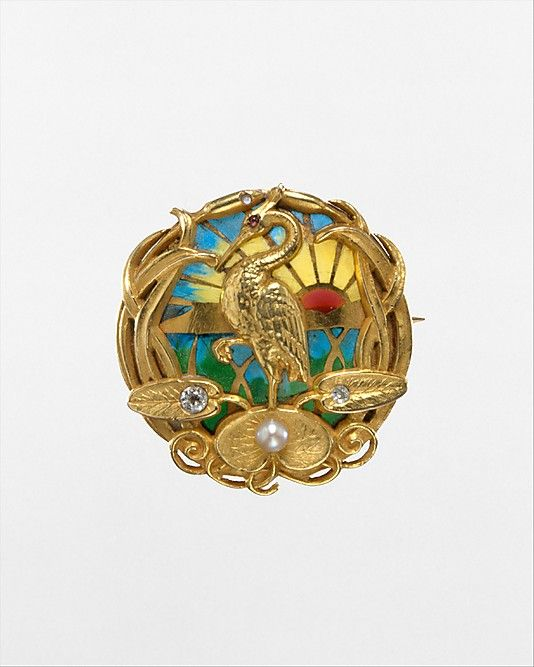 Watch Pin, Riker Brothers, Newark, NJ, USA, gold, plique-á-jour enamel, diamonds, pearl and ruby. Circa 1900