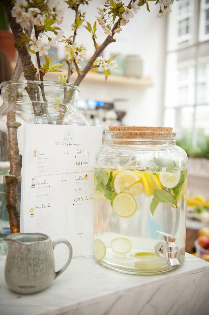 We need to have these iced water dispensers with fruits in our cafe. It's just like PS cafe