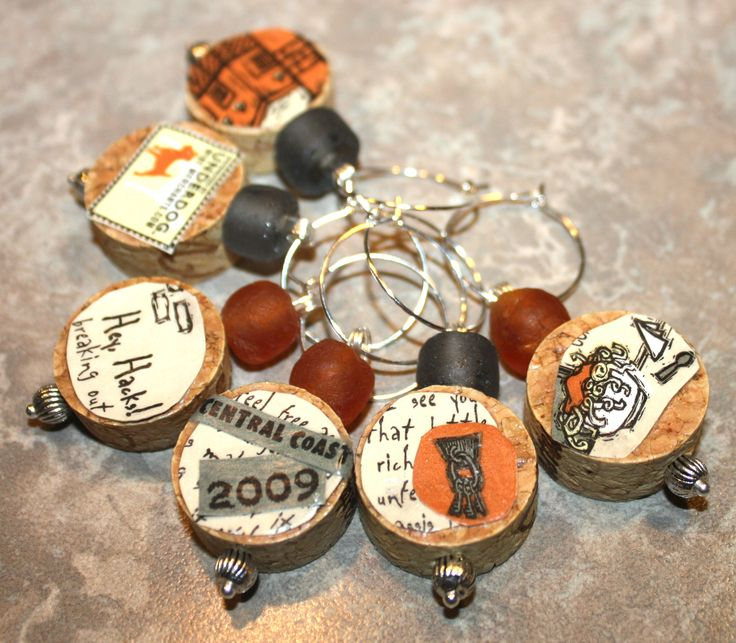 Decoupage cork wine charms