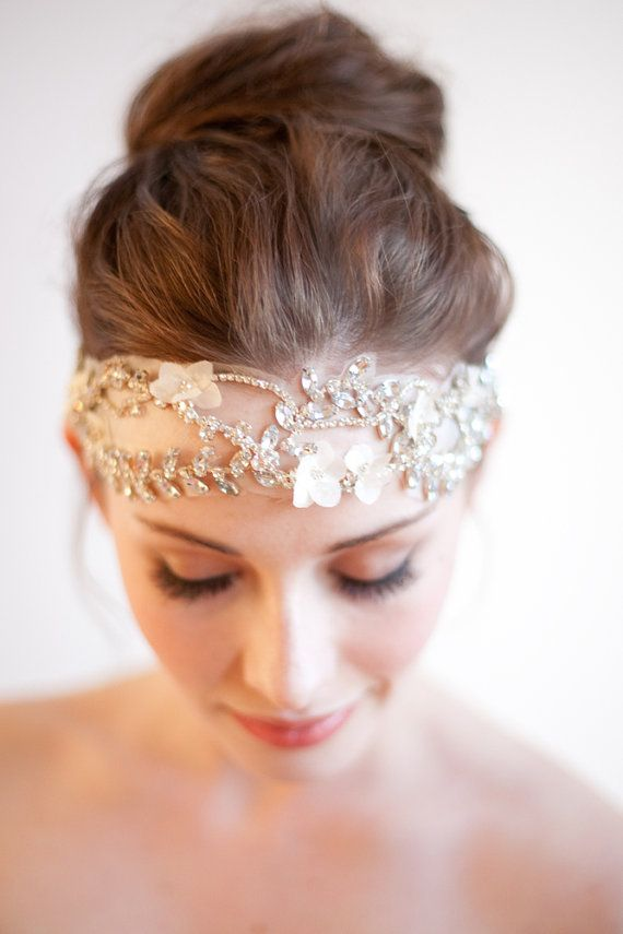 Bridal Headband, Silk, Rhinestone Headpiece, Cordelia