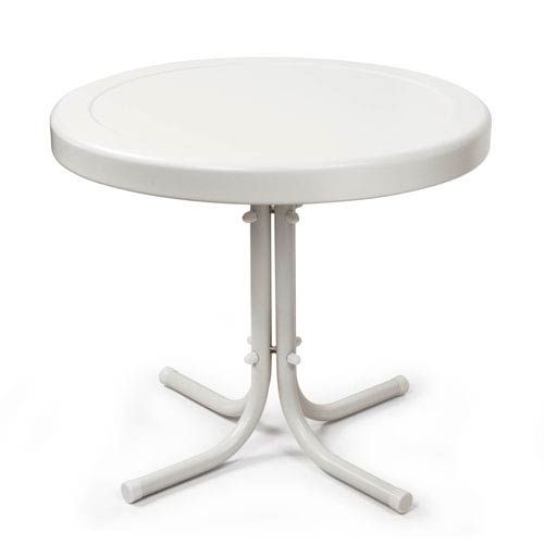 Griffith Metal 20-Inch Side Table in White Finish