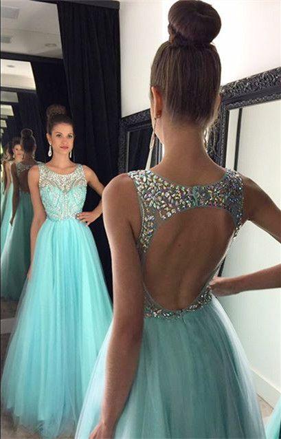 Luz azul cristal longo prom dress até o chão contas de cristal de tule 2017 vestidos a-line halter abrir volta vestidos de baile