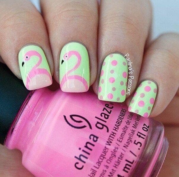 Beautiful summer nails, Bird nail art, Cheerful nails, Flamingo nails, Nails for young mothers, Polka dot nails, Romantic nails, Sea nails