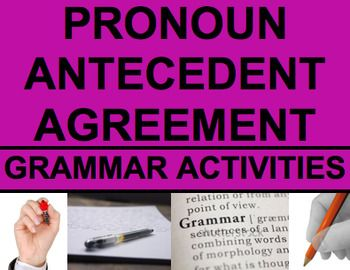 Pronoun Antecedent Agreement Activities - Worksheets, PowerPoint & Answer Key. Pronoun Antecedent Agreement - Grammar Activities. NO PREP Print & Go PowerPoint, Worksheets and Answer Keys. Make Grammar fun with straightforward NO PREP powerpoint and practice activities. Easy to use printables for student review and practice.