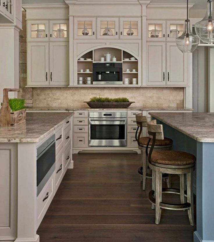 Love this kitchen! Cream cabinets, travertine backsplash ...